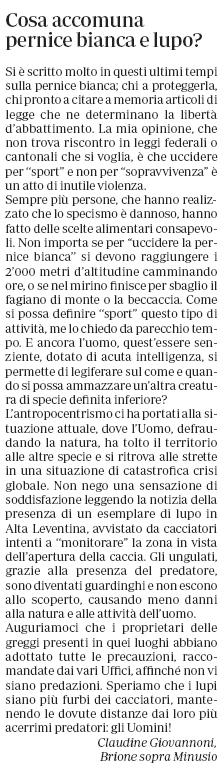 Pernice bianca e lupo - Claudine La Regione 24.8.2019