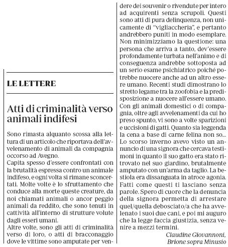 atti di criminalità verso animali indifesi - La Regione 2.9.2019